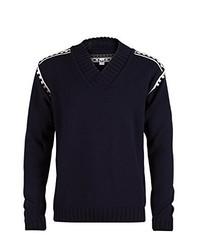 dunkelblauer Pullover mit einem V-Ausschnitt von Dale of Norway