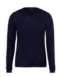 dunkelblauer Pullover mit einem V-Ausschnitt von Falke