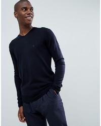 dunkelblauer Pullover mit einem V-Ausschnitt von French Connection