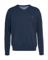 dunkelblauer Pullover mit einem V-Ausschnitt von Fynch Hatton