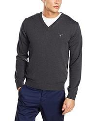 dunkelblauer Pullover mit einem V-Ausschnitt von Gant