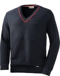 dunkelblauer Pullover mit einem V-Ausschnitt von Giesswein