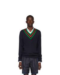 dunkelblauer Pullover mit einem V-Ausschnitt von Gucci