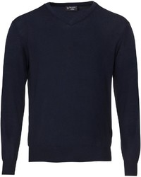 dunkelblauer Pullover mit einem V-Ausschnitt von Hackett London
