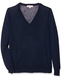 dunkelblauer Pullover mit einem V-Ausschnitt von Havren