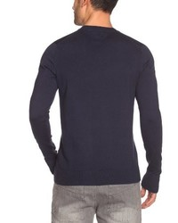 dunkelblauer Pullover mit einem V-Ausschnitt von Hilfiger Denim
