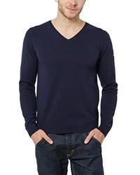 dunkelblauer Pullover mit einem V-Ausschnitt von James Tyler