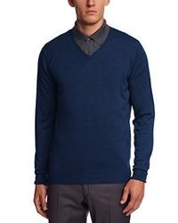 dunkelblauer Pullover mit einem V-Ausschnitt von John Smedley