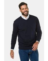 dunkelblauer Pullover mit einem V-Ausschnitt von JP1880