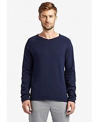 dunkelblauer Pullover mit einem V-Ausschnitt von khujo