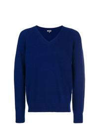 dunkelblauer Pullover mit einem V-Ausschnitt von Lanvin