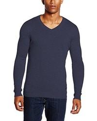 dunkelblauer Pullover mit einem V-Ausschnitt von Lee