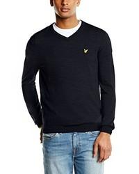 dunkelblauer Pullover mit einem V-Ausschnitt von Lyle & Scott