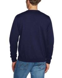 dunkelblauer Pullover mit einem V-Ausschnitt von Maerz