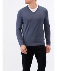 dunkelblauer Pullover mit einem V-Ausschnitt von MAERZ Muenchen