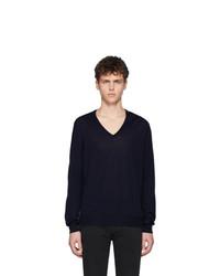 dunkelblauer Pullover mit einem V-Ausschnitt von Maison Margiela
