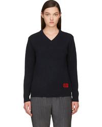 dunkelblauer Pullover mit einem V-Ausschnitt von Marc by Marc Jacobs