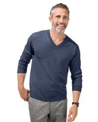 dunkelblauer Pullover mit einem V-Ausschnitt von MARCO DONATI