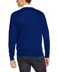 dunkelblauer Pullover mit einem V-Ausschnitt von Merc of London