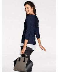 dunkelblauer Pullover mit einem V-Ausschnitt von PATRIZIA DINI by Heine