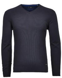 dunkelblauer Pullover mit einem V-Ausschnitt von RAGMAN