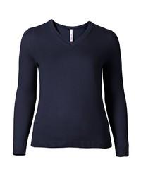 dunkelblauer Pullover mit einem V-Ausschnitt von SHEEGO BASIC