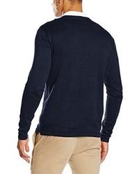 dunkelblauer Pullover mit einem V-Ausschnitt von SPRINGFIELD