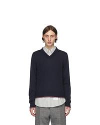 dunkelblauer Pullover mit einem V-Ausschnitt von Thom Browne