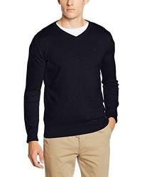 dunkelblauer Pullover mit einem V-Ausschnitt von Tom Tailor
