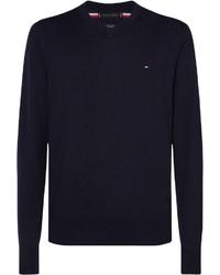 dunkelblauer Pullover mit einem V-Ausschnitt von Tommy Hilfiger