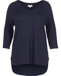 dunkelblauer Pullover mit einem V-Ausschnitt von Zizzi