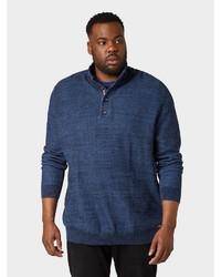 dunkelblauer Pullover mit einem zugeknöpften Kragen von Tom Tailor