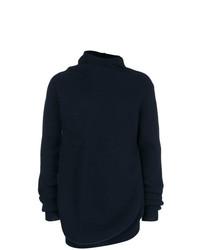 dunkelblauer Pullover mit einer weiten Rollkragen von Jil Sander