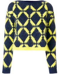 dunkelblauer Pullover mit geometrischen Mustern von Versace