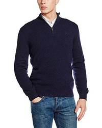 Dunkelblauer Pullover mit Reißverschluss am Kragen von Hackett London
