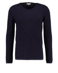 dunkelblauer Pullover mit einem V-Ausschnitt von Nowadays