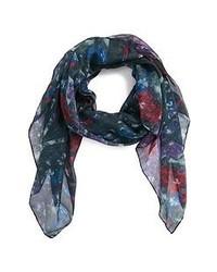 dunkelblauer Schal mit Blumenmuster