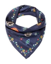 dunkelblauer Schal mit Blumenmuster von Tommy Hilfiger
