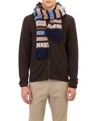 dunkelblauer Schal mit Fair Isle-Muster