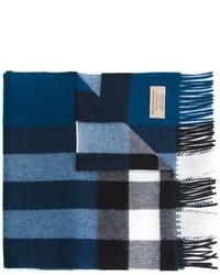 dunkelblauer Schal mit Karomuster von Burberry