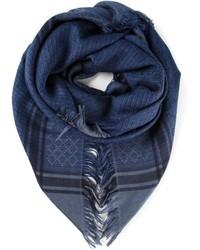 dunkelblauer Schal mit Karomuster von Gucci