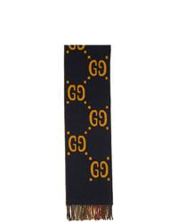 dunkelblauer Schal mit Schottenmuster von Gucci