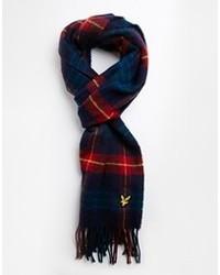 dunkelblauer Schal mit Schottenmuster von Lyle & Scott