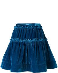 dunkelblauer Seide Minirock mit Rüschen von Alberta Ferretti