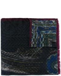 dunkelblauer Seideschal mit geometrischem Muster von Etro