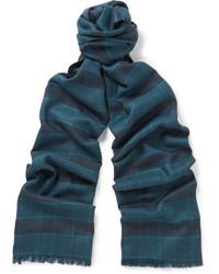 dunkelblauer Seideschal mit Schottenmuster von Brioni