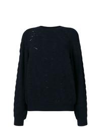 dunkelblauer Spitze Pullover mit einem Rundhalsausschnitt von See by Chloe