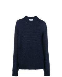 dunkelblauer Strick Oversize Pullover von Prada