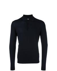 dunkelblauer Strick Polo Pullover von Fashion Clinic Timeless