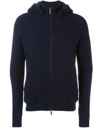 dunkelblauer Strick Pullover mit einem Kapuze